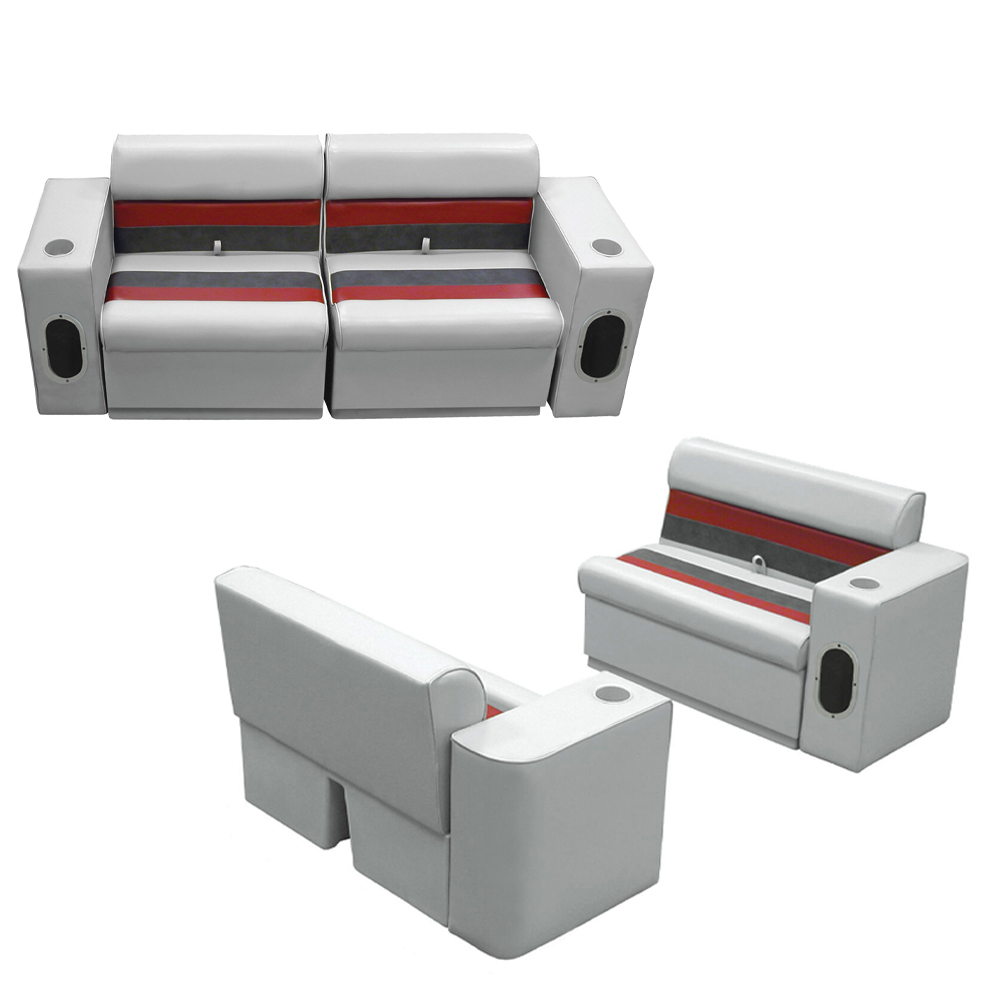 Deluxe Pontoon Furniture w/Toe Kick Base, Complete Boat Package, Gray/Red/Charco