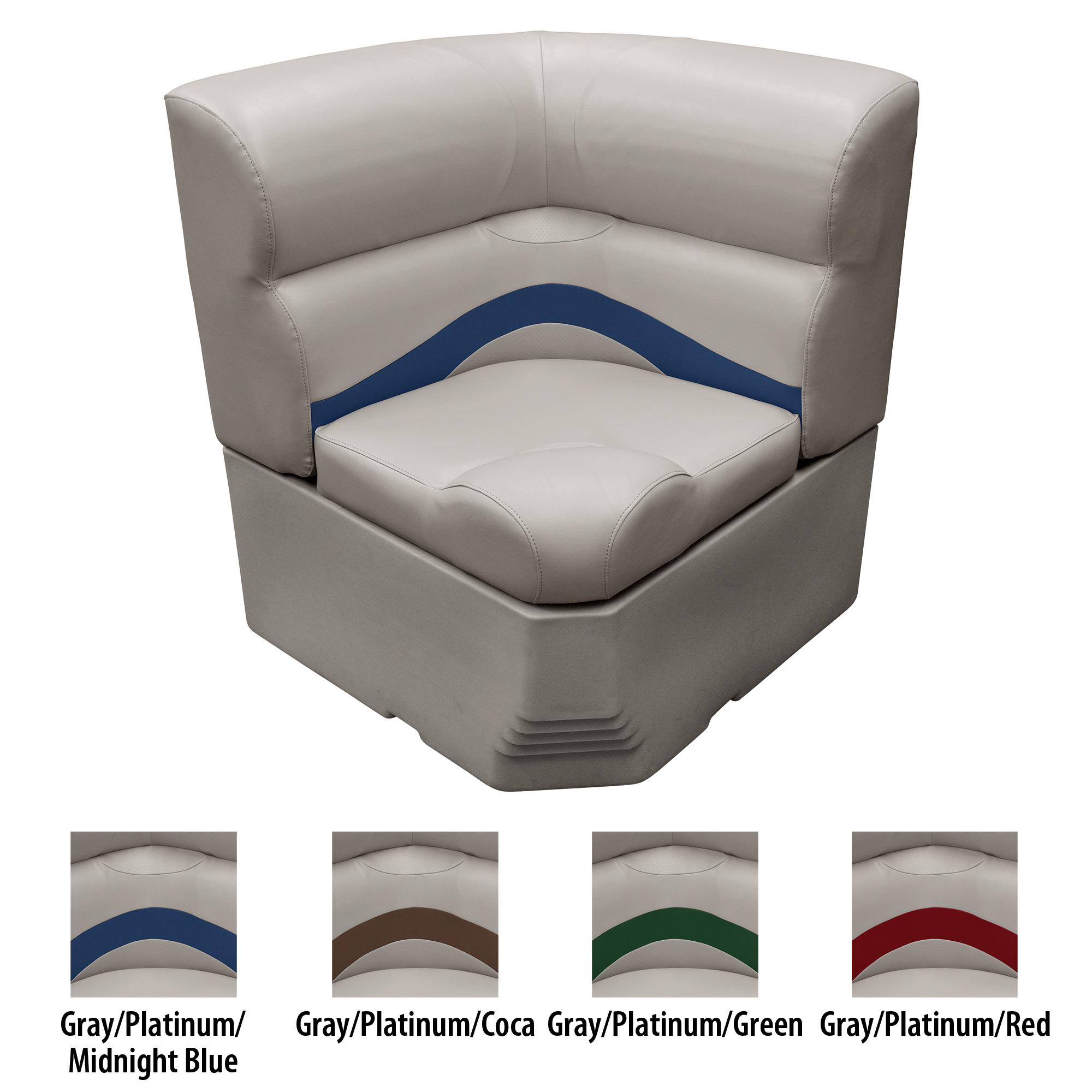 """Toonmate 25"""" Premium Pontoon Corner Section Seat w/Radius Corner, Platinum Base"""