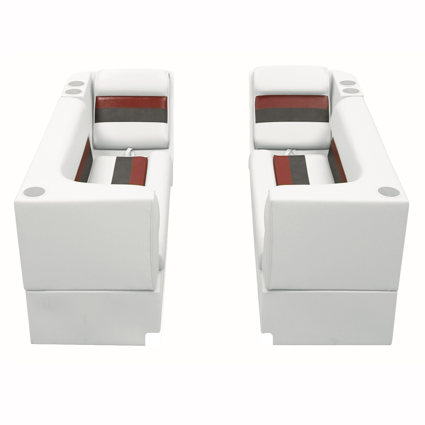 Deluxe Pontoon Furniture w/Toe Kick Base - Front Group Package B, White/Red/Char