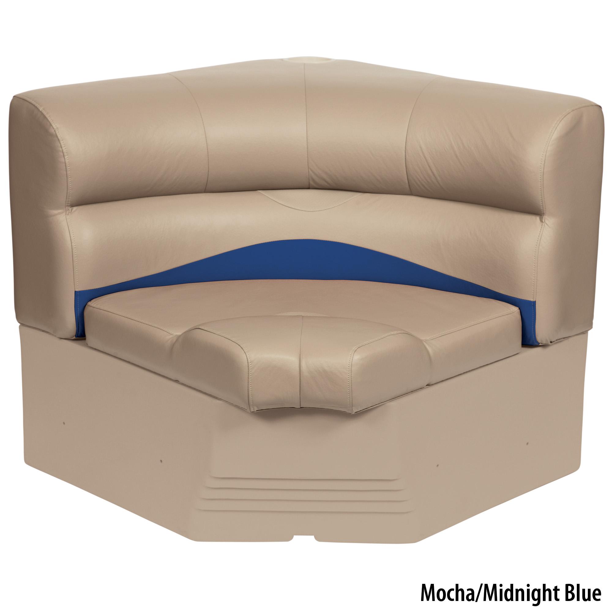 "Toonmate 32"" Premium Pontoon Corner Section Seat w/Rounded Corner, Mocha Base"