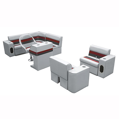 Deluxe Pontoon Furniture w/Toe Kick Base, Group 6 Package, Gray/Red/Charcoal