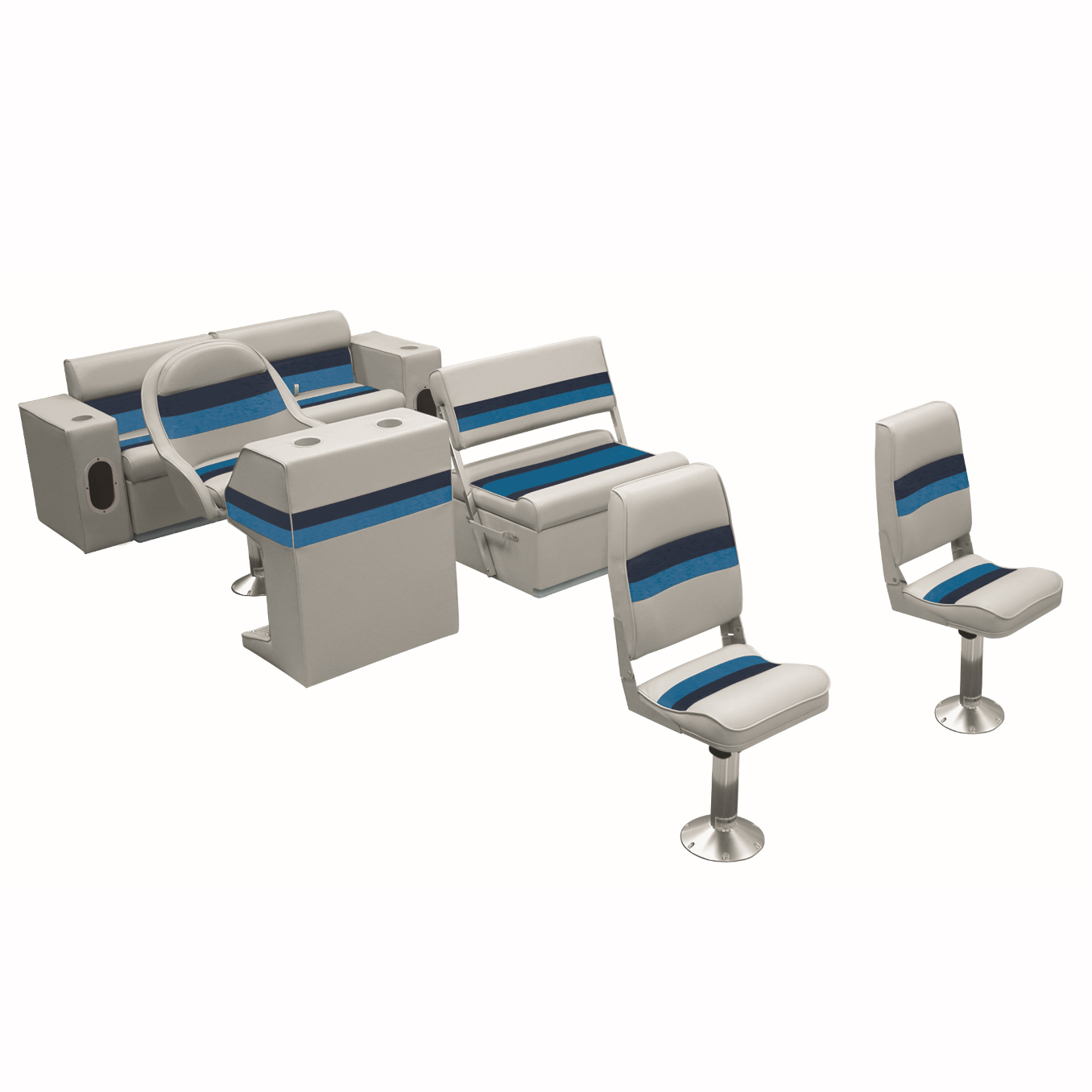 Deluxe Pontoon Furniture w/Toe Kick Base - Fishing Package, Gray/Navy/Blue