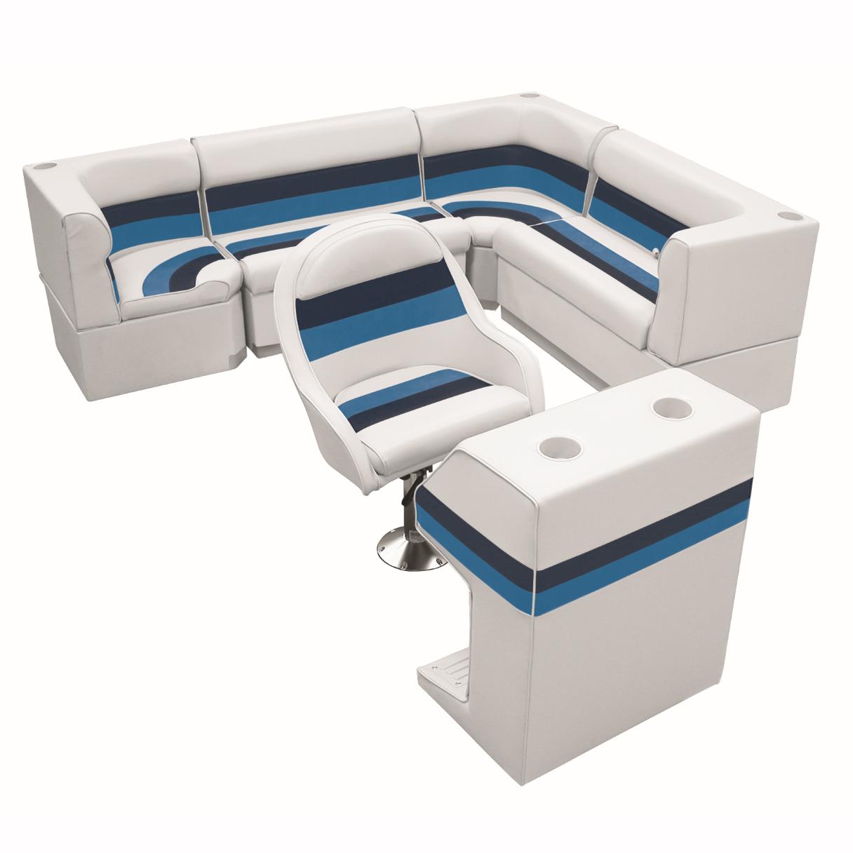 "Deluxe Pontoon Furniture w/Toe Kick Base - Rear Big ""L"" Package, White/Navy/Blue"
